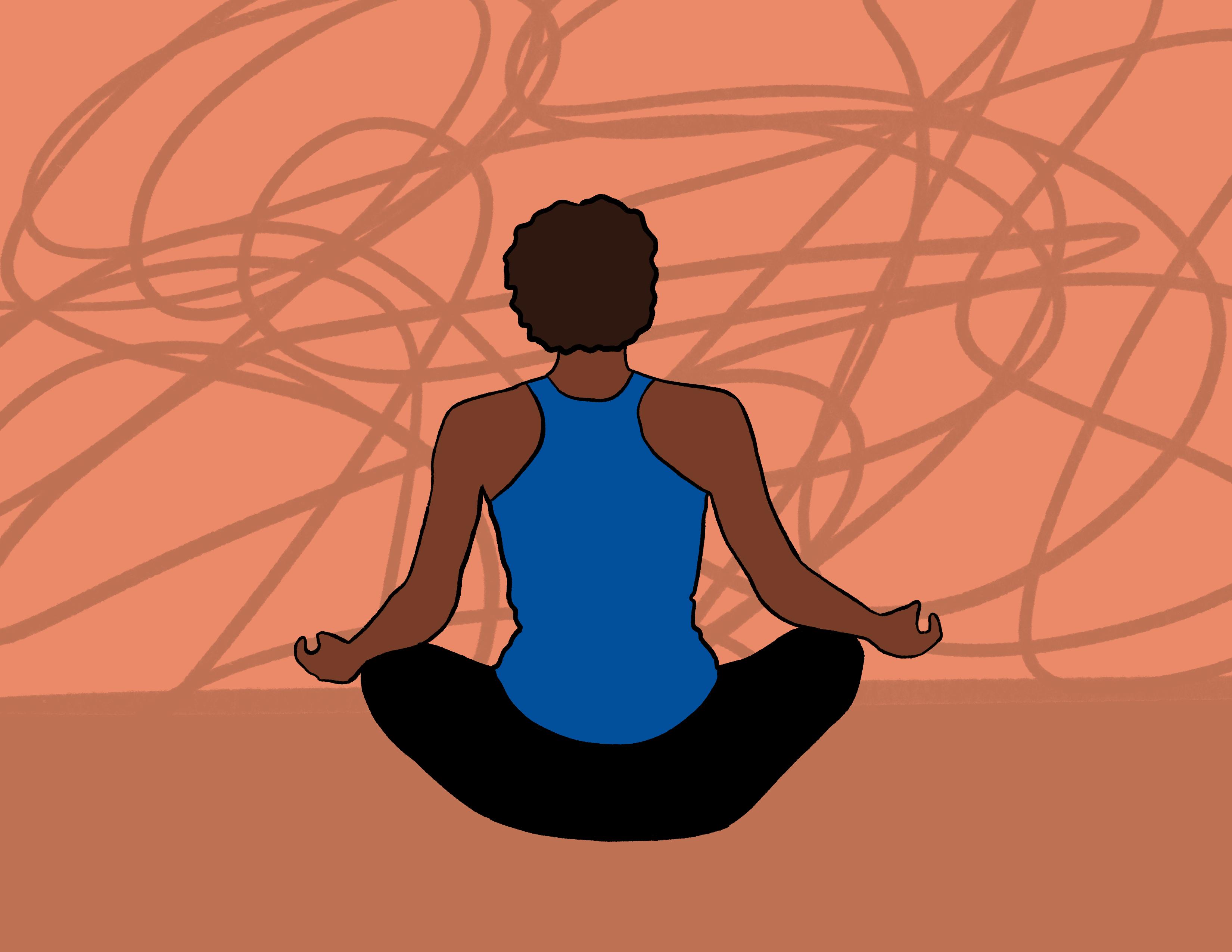 a woman meditating
