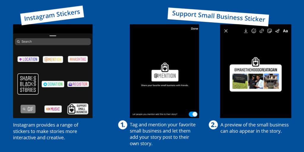 illustration of small business stickers on instagram