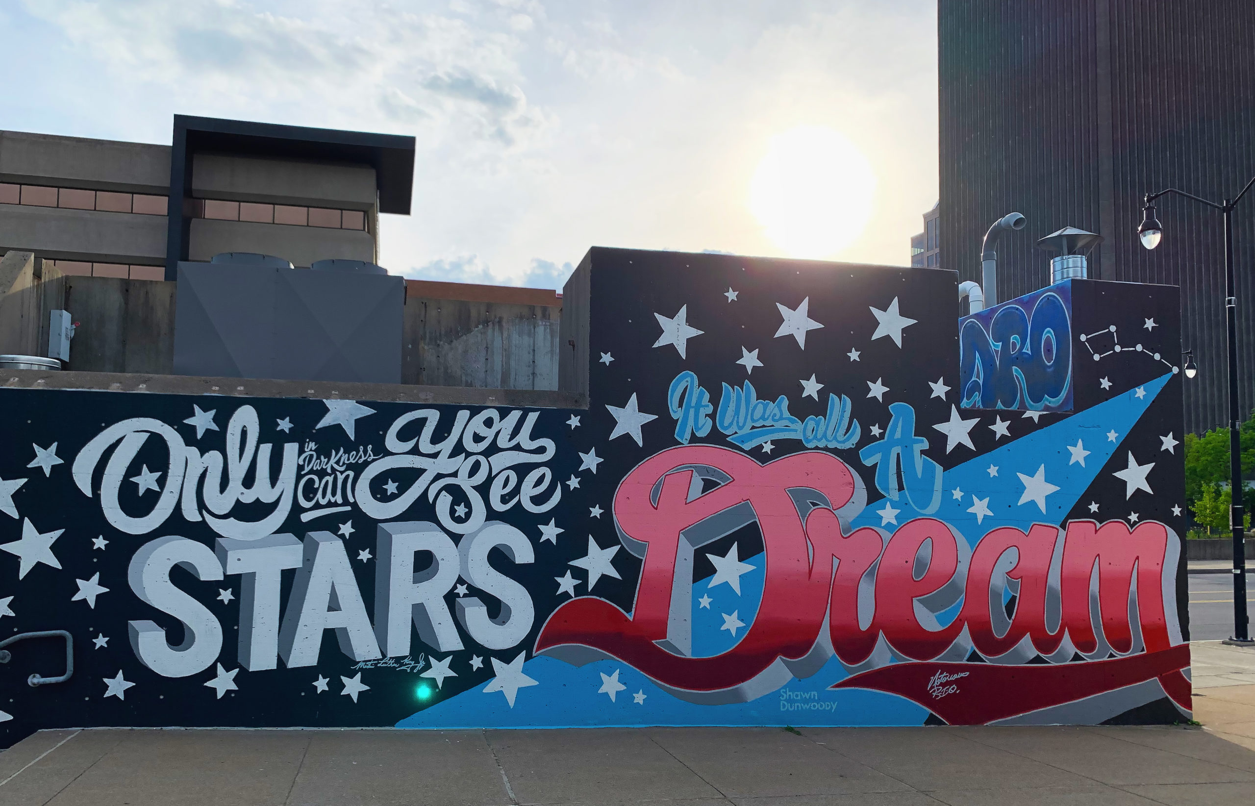 mural by shawn dunwoody quoting martin luther king jr and biggie smalls