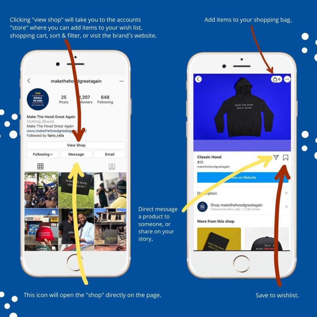 illustration of an instagram shops screen